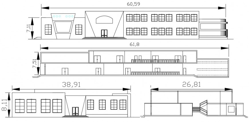 2d cad drawing of classroom school front elevation autocad software