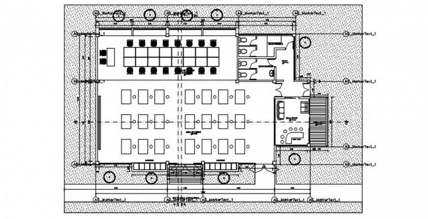 2d cad drawing of classroom section auto cad software