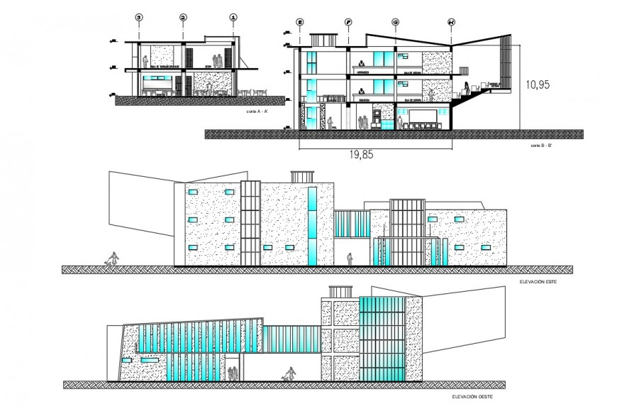 2d cad drawing of commercial cabin exterior autocad file