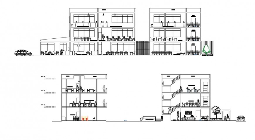 2d cad drawing of community center exterior elevation autocad file