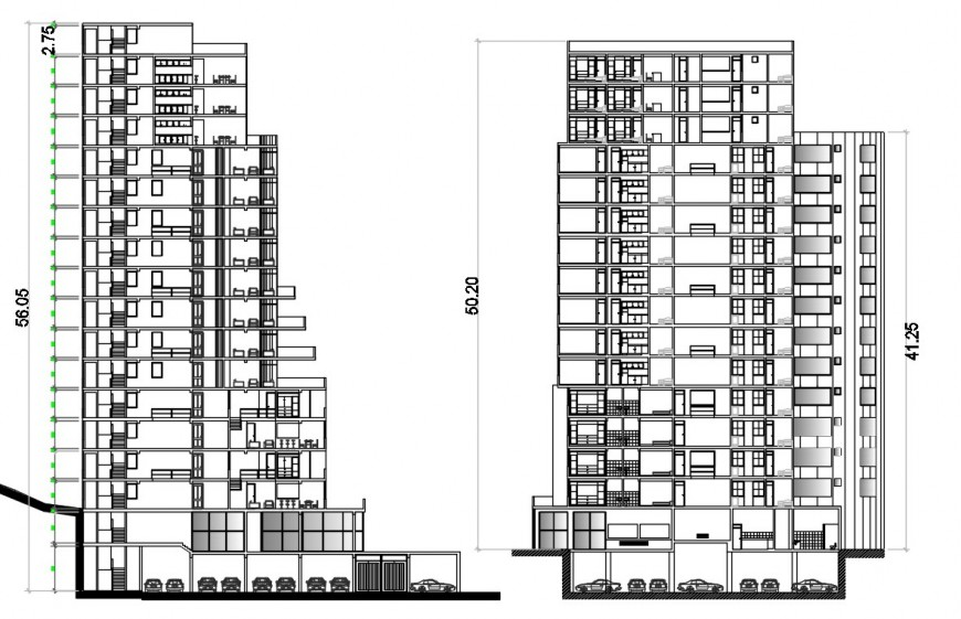 2d cad drawing of complex high-density housing auto cad software