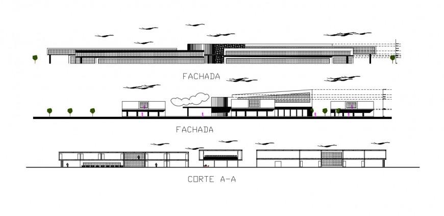 2d cad drawing of design room exterior elevation autocad software