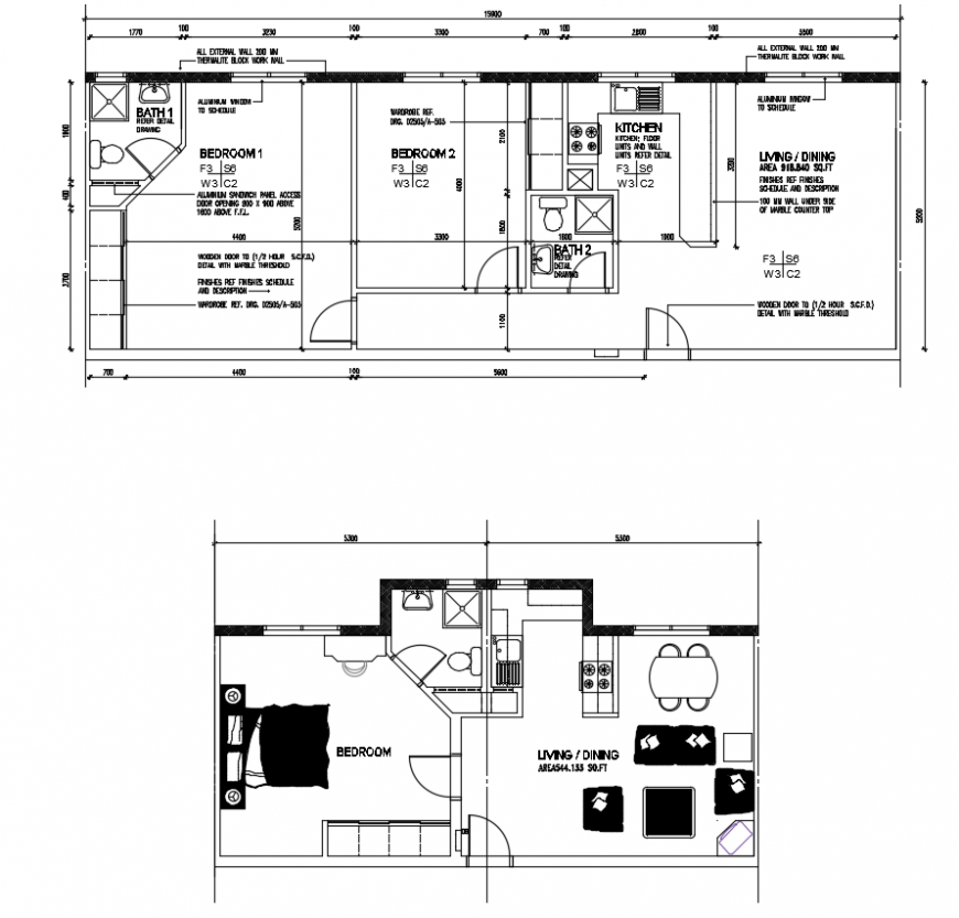 2d cad drawing of detail room plan autocad software