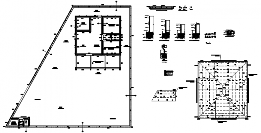 2d cad drawing of detailed structure autocad software