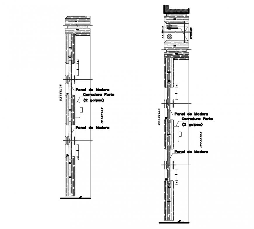 2d cad drawing of door constructive autocad software