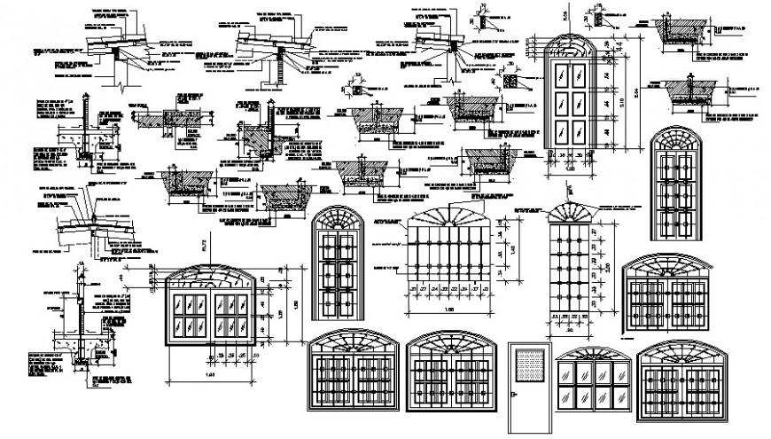 2d cad drawing of door design round details auto cad software