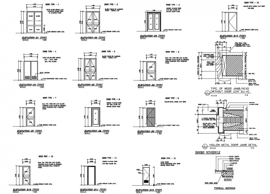 2d cad drawing of door elevation types autocad file