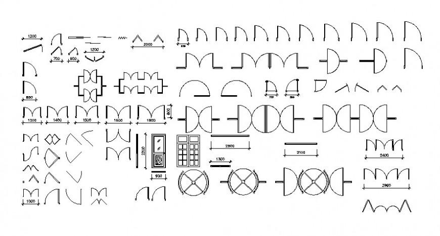 2d cad drawing of door symbol auto cad software