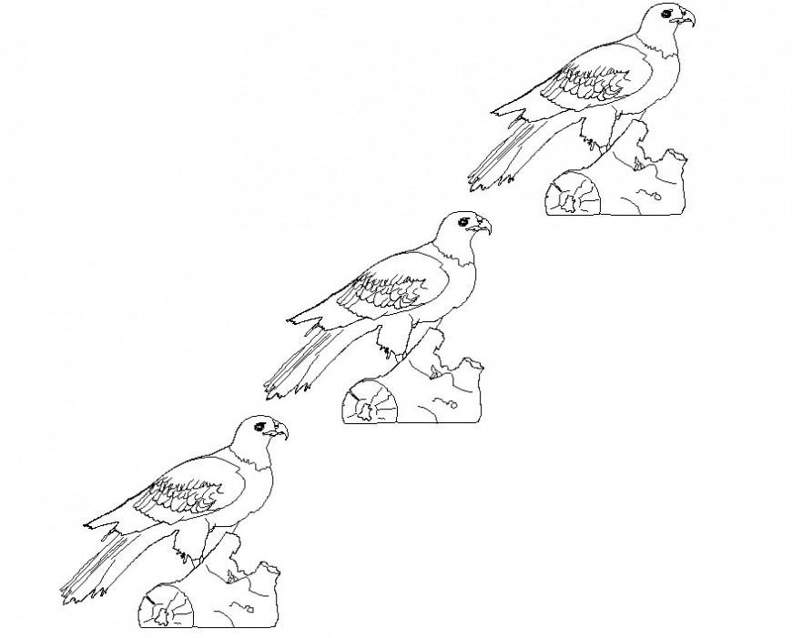 2d cad drawing of dove bird blocks