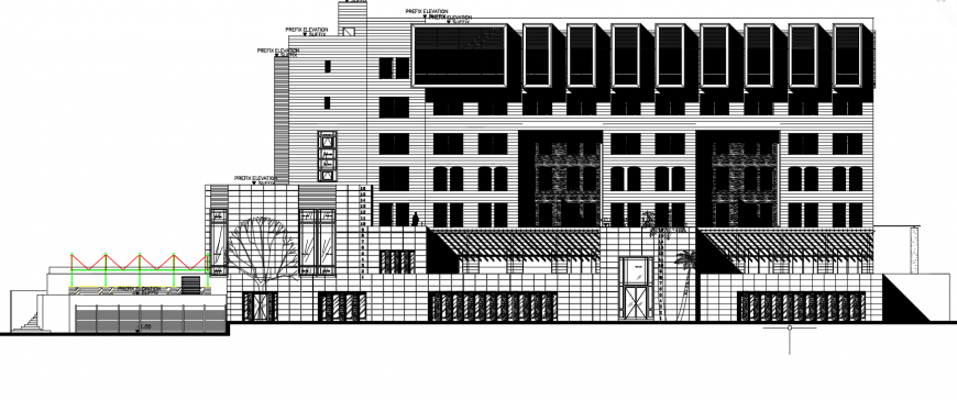 2d cad drawing of eastern elevation autocad software