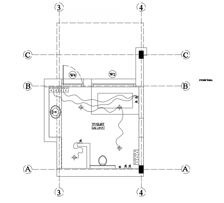 2d cad drawing of electrical plan of bathroom autocad software