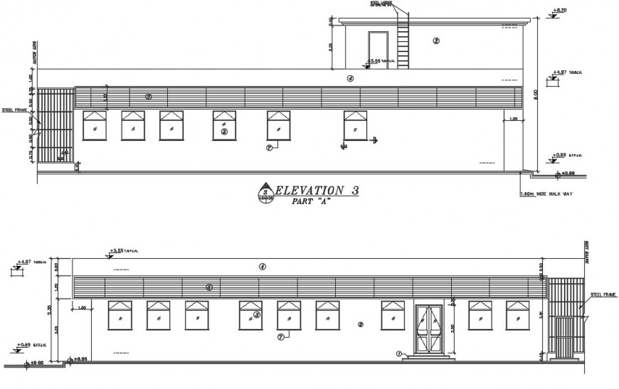 2d cad drawing of elevation 3 of office exterior autocad file