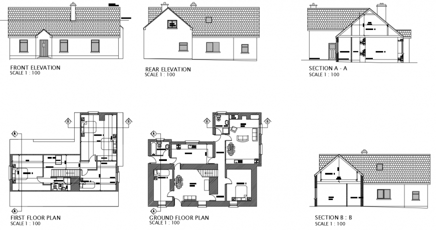 2d cad drawing of elevation of two floor plans autocad software