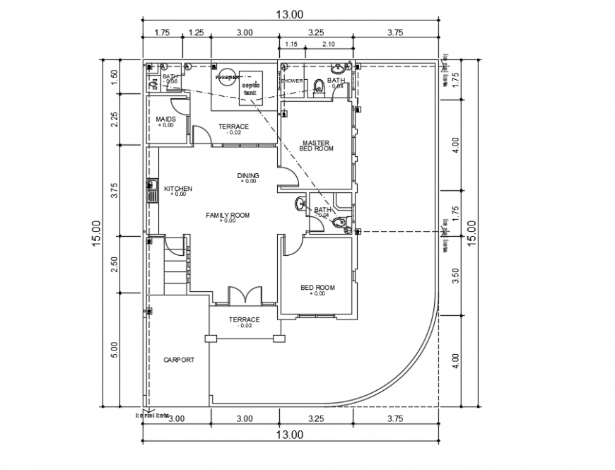 2d cad drawing of elevation right  house plan autocad software