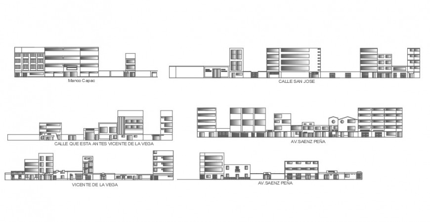 2d cad drawing of Elevation sector center side elevation auto cad software