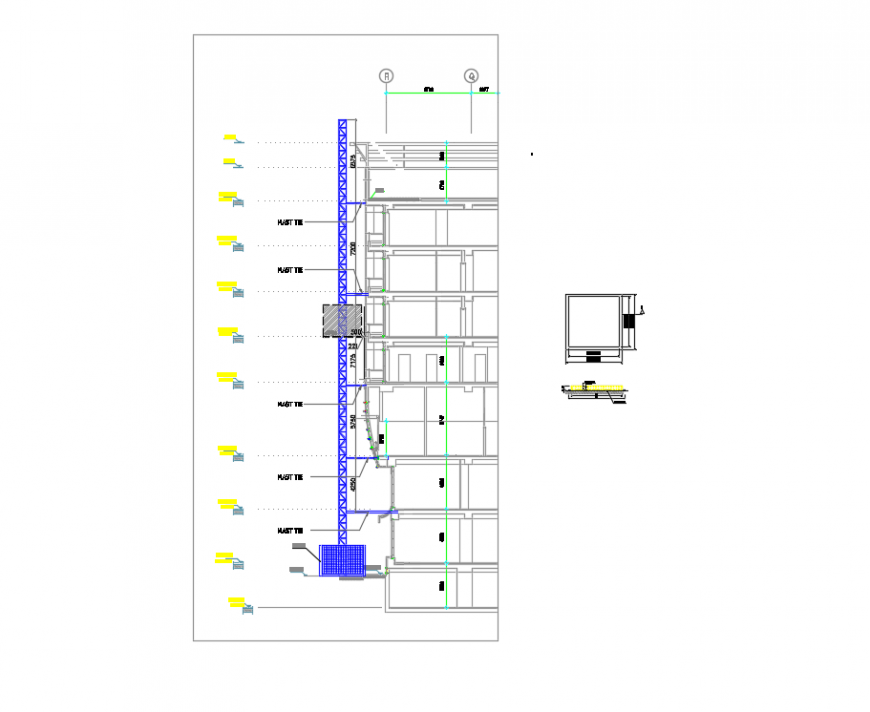 2d cad drawing of escalator tower autocad software