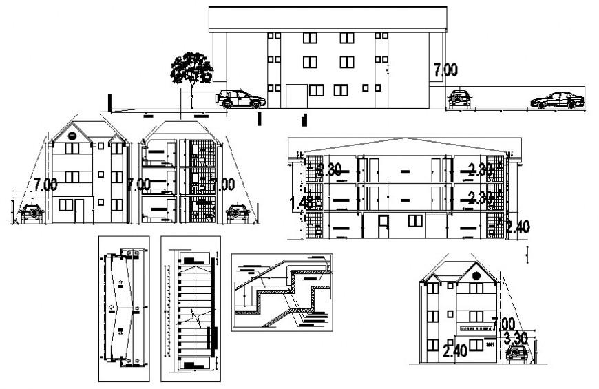 2d cad drawing of exterior elevation bulding autocad software