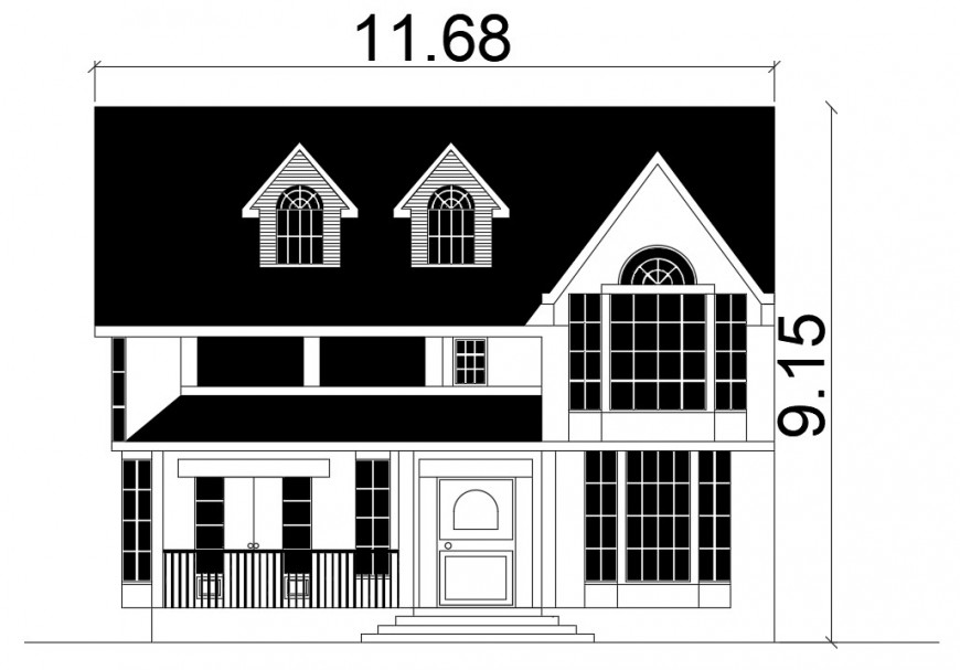 2d cad drawing of exterior house elevation autocad software