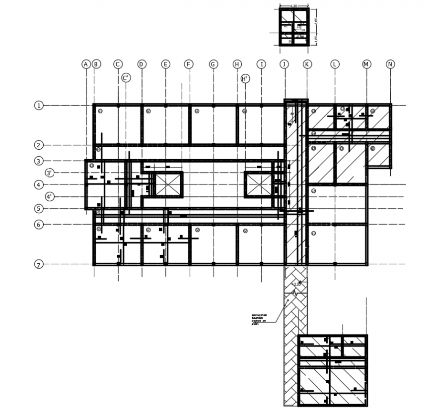 2d cad drawing of first-floor slab autocad software