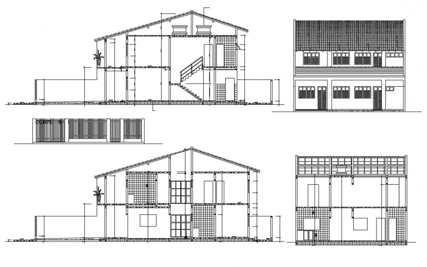 2d cad drawing of floor elevation with two-floor autocad software