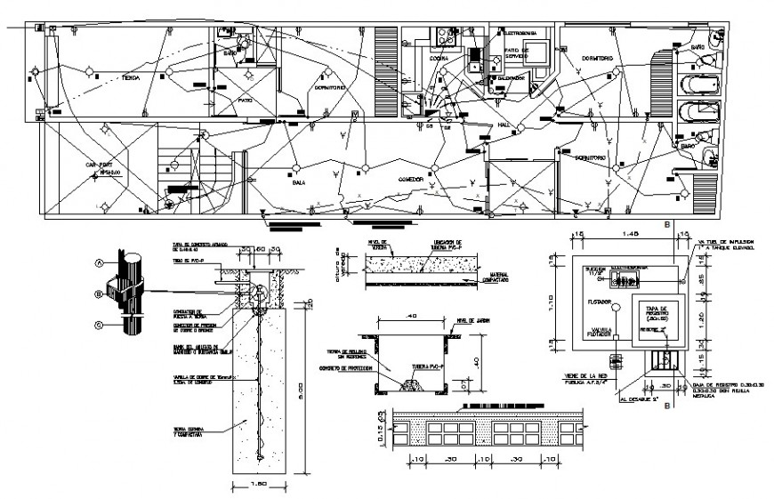 2d cad drawing of floor exterior electrical autocad software