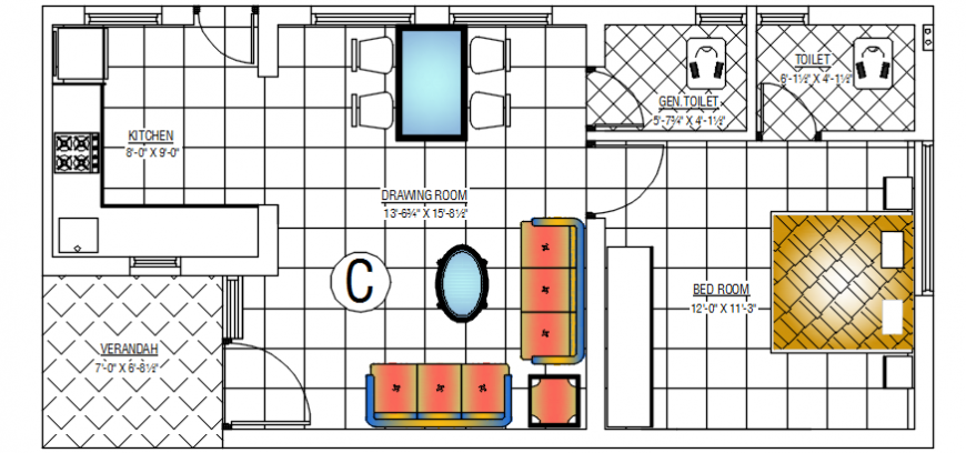 2d cad drawing of floor plan horizontal autocad software