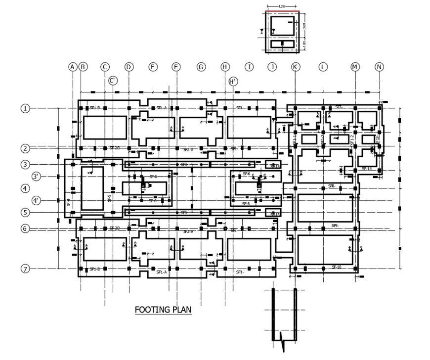 2d cad drawing of footing plan autocad software
