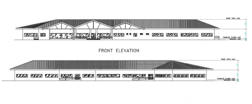 2d cad drawing of front elevation  5autocad software