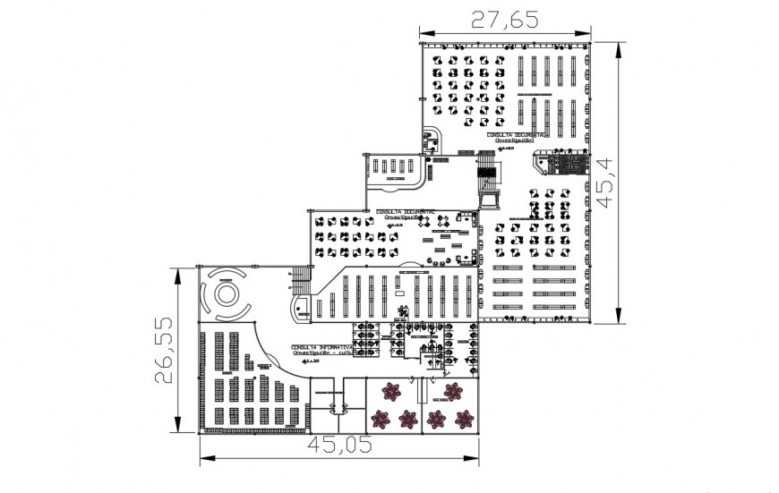 2d cad drawing of general library autocad software