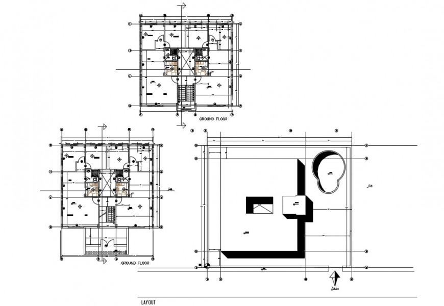 2d cad drawing of ground floor design floor elevation AutoCAD file