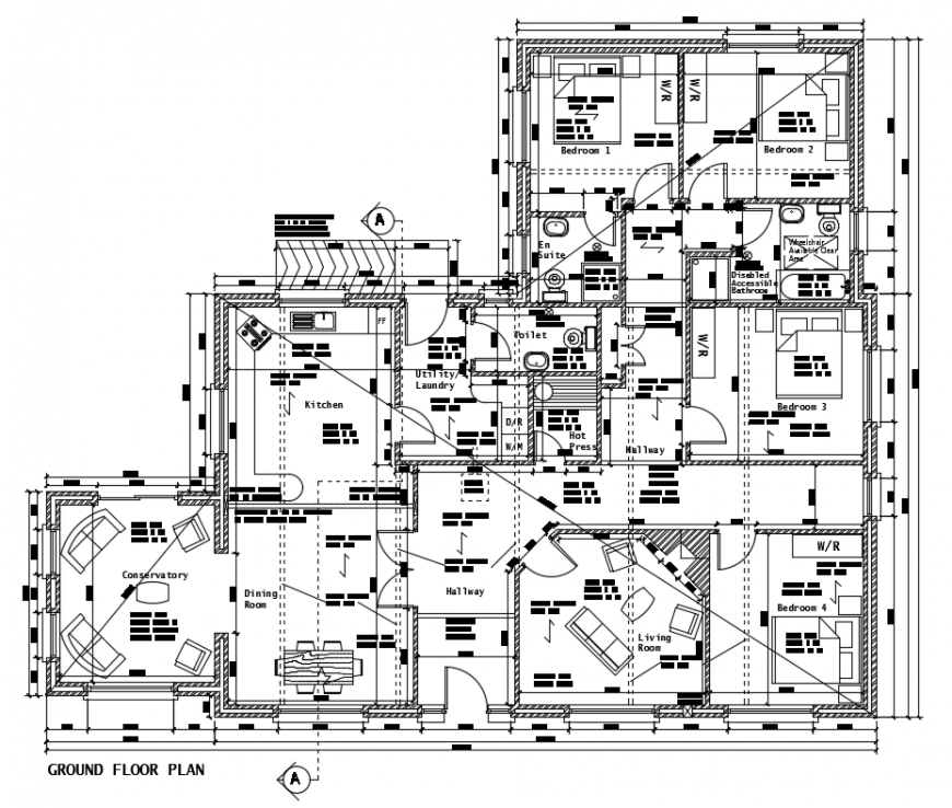 2d cad drawing of ground floor plan auto cad software