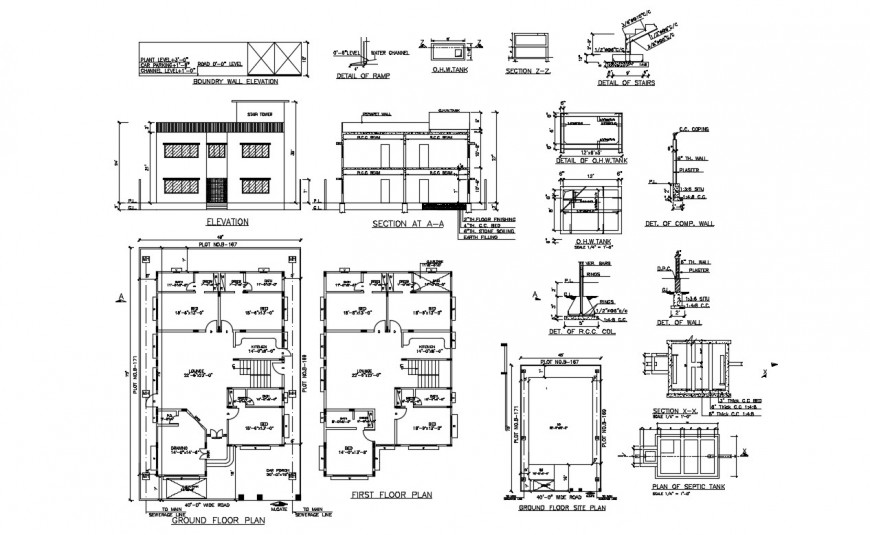 2d cad drawing of ground floor site plan autocad software