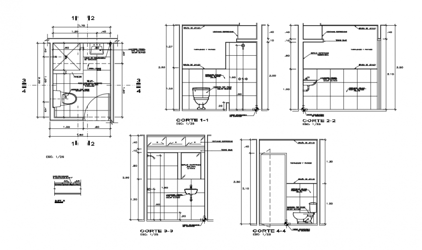 2d cad drawing of guardian house toilet area autocad software