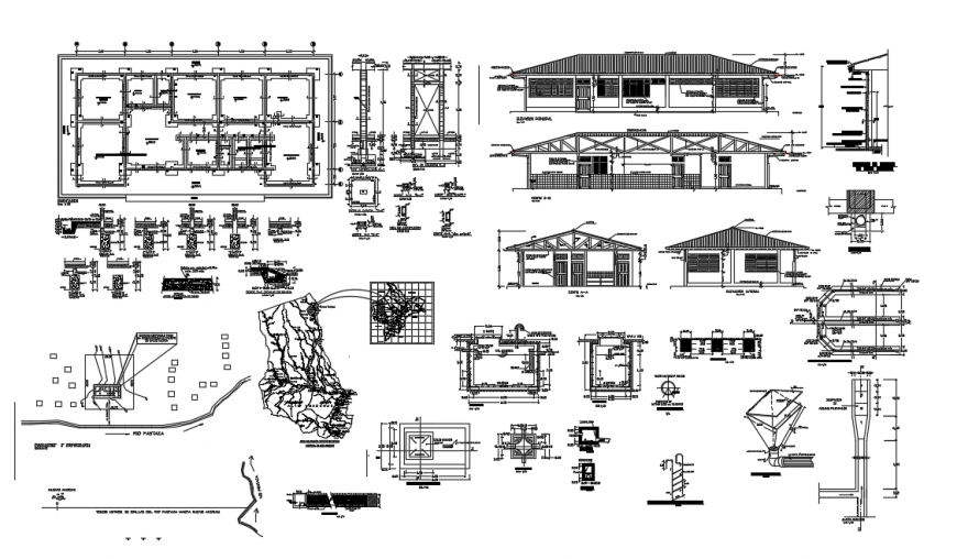 2d cad drawing of health post construction parts autocad software