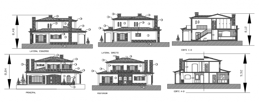 2d cad drawing of home 1 exterior elevation auto cad software