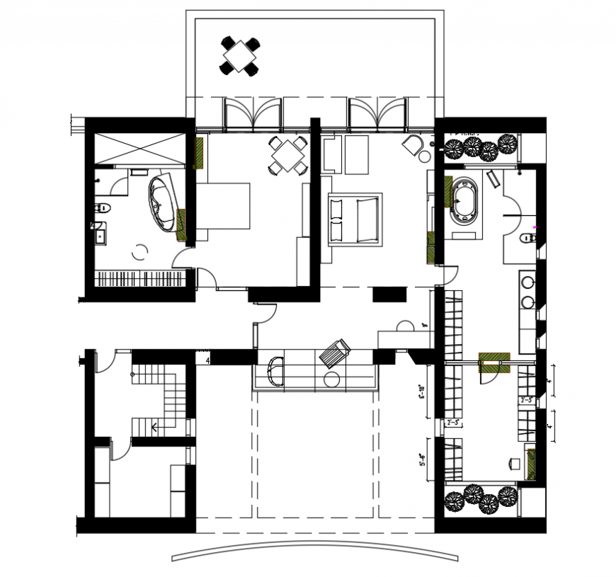 2d cad drawing of home plan interior  autocad software