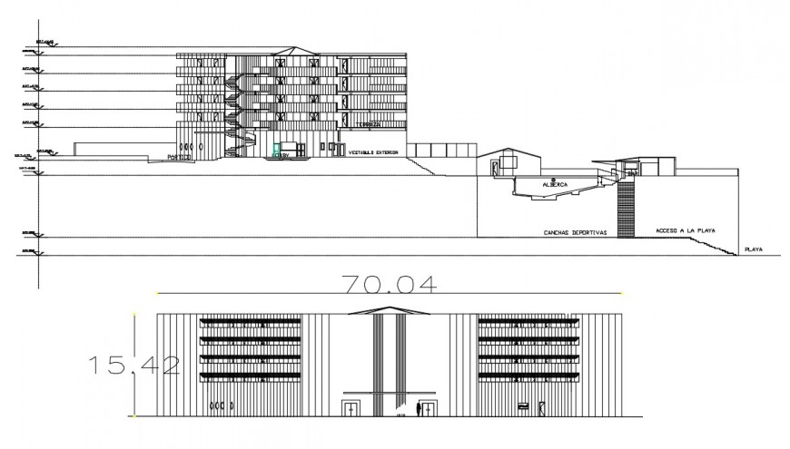 2d cad drawing of hotel exterior autocad software