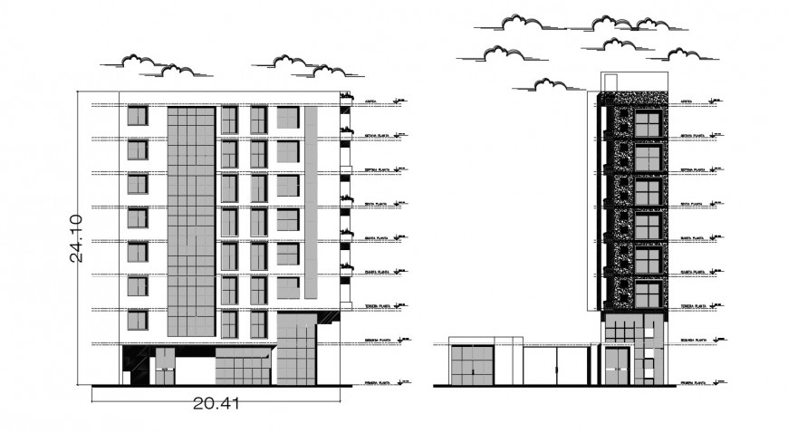 2d cad drawing of hotel exterior elevation autocad software