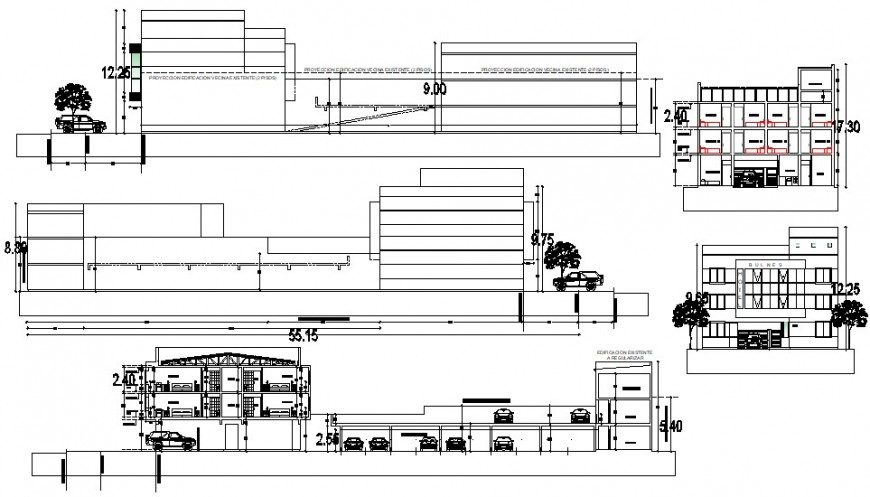 2d cad drawing of hotel parking elevation autocad software