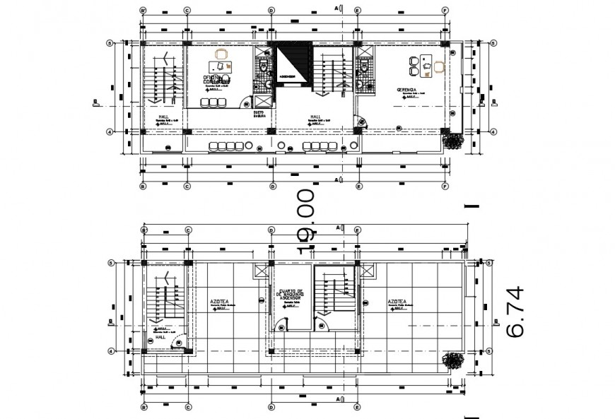 2d cad drawing of hotel top elevation autocad software