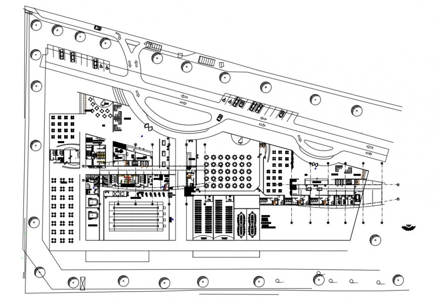 2d cad drawing of hotel view inner plan autocad software