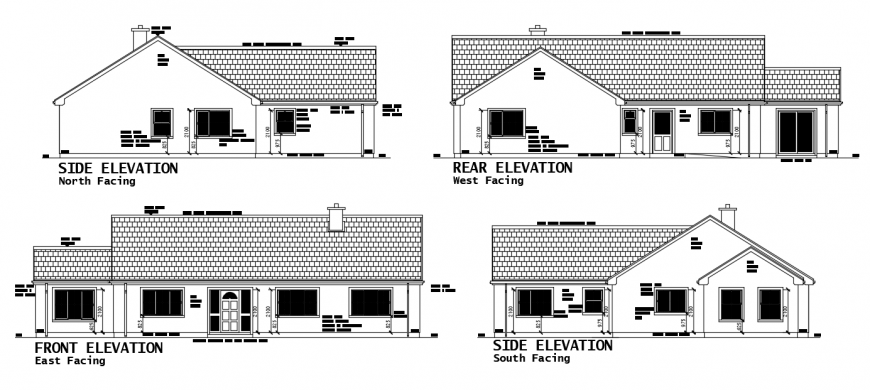 2d cad drawing of house all elevation autocad software
