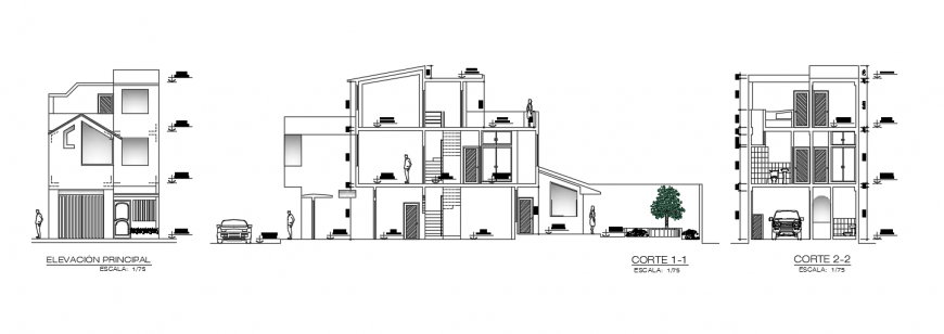 2d cad drawing of house Ashok elevation autocad software