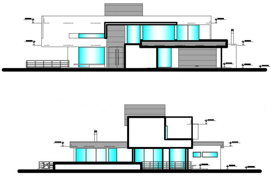 2d cad drawing of house elevation front autocad software