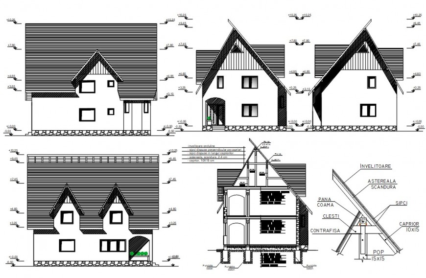 2d cad drawing of house final layout elevation auto cad software