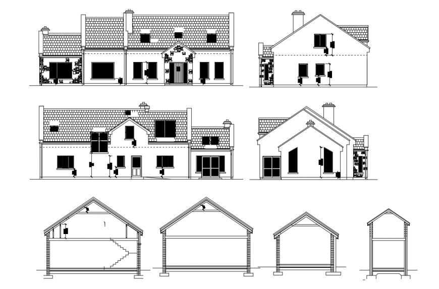 2d cad drawing of house roof elevation Auto Cad software