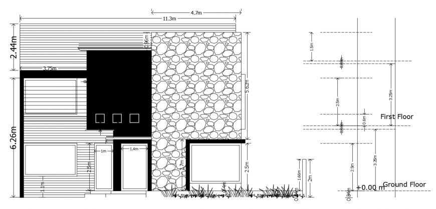 2d cad drawing of house stru front elevation plan autocad software