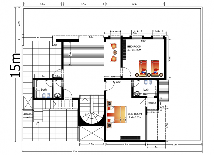 2d cad drawing of house stru second-floor plan autocad software