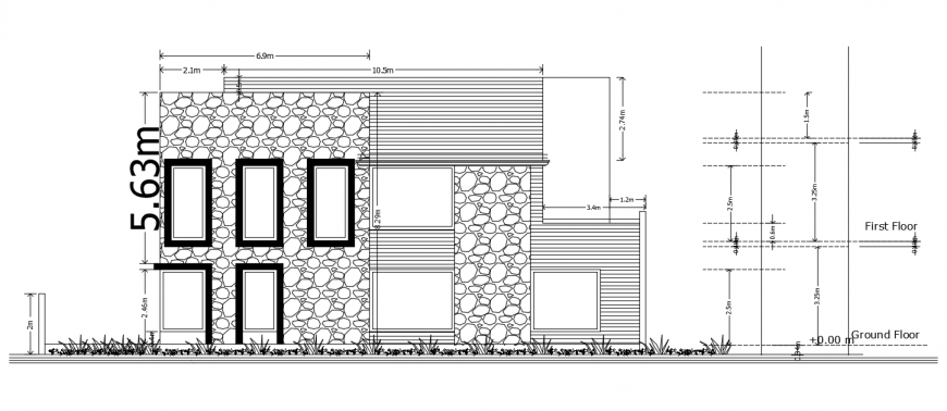 2d cad drawing of house stur plan elevation auto cad software