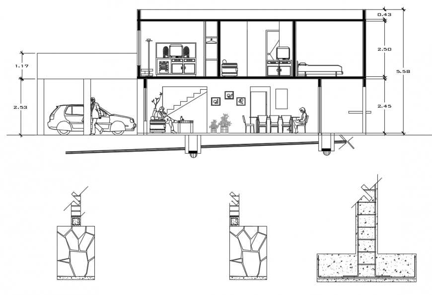 2d cad drawing of house whole elevation autocad software
